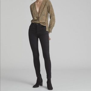 Rag & Bone High Rise Corduroy Skinny Jeans Black